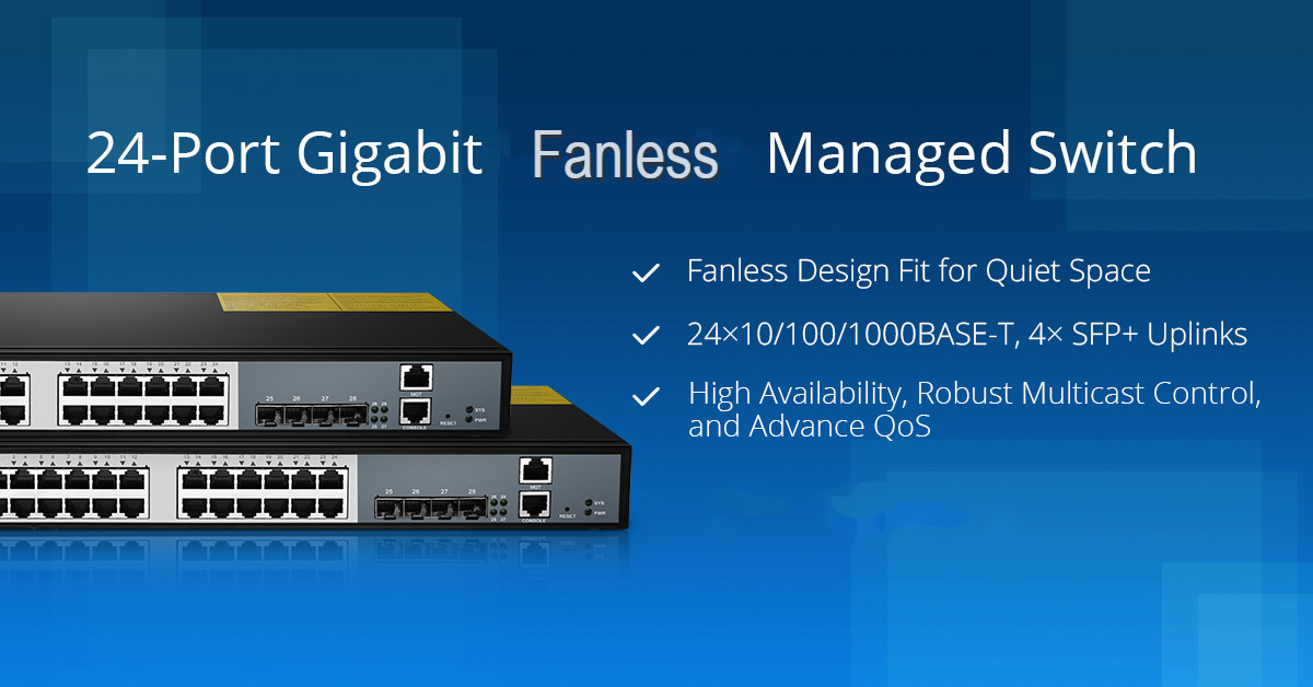 FS fanless 24-port managed switch